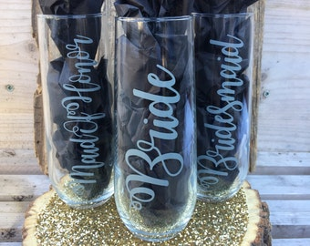 Customized Wedding Champagne Flutes Stemless Flutes Bridesmaid Maid of Honor Bride Personalized Bridal Gifts Shower Monogram Hashtag