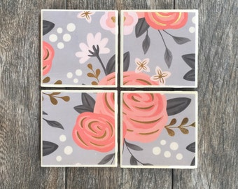 Gray and Pink Floral Coasters