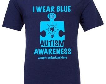 Autism awareness - I wear Blue - Autism Love - Super Kids