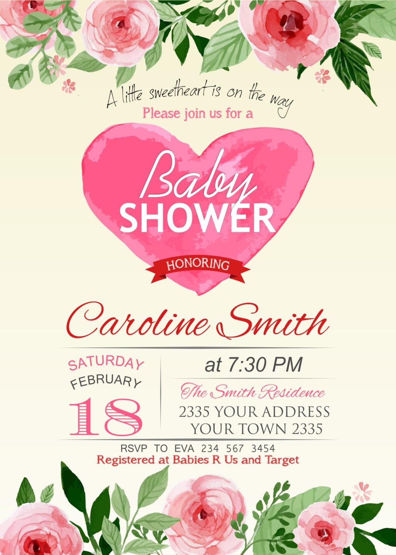 Valentine Baby Shower Invitation. Little Sweetheart Baby Shower ...