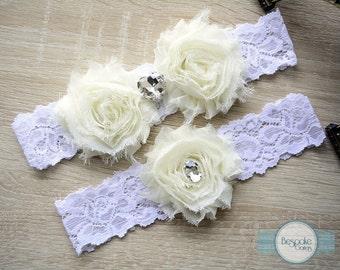 Thigh Garter, Bridal Garter, Brides Garter, Ivory Garter, Lace Pearl Garter, Plus Size Garters, Wedding Garter Sets, Rosette Garter