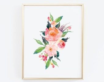 Flower Wall Art, Printable Art, Floral Print, Flower Print Wall Art, Watercolour Flower Art, Shabby Chic Wall Art, Boho Wall Decor