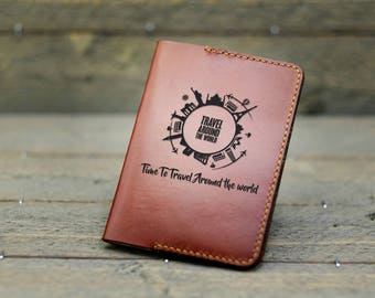Personalized Passport Covers /Leather Passport Cover / Gift for traveler / World Globe / World Citites - PC02#78