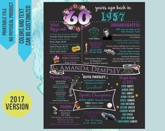 60th Birthday Gift, 60th Birthday Chalkboard, 60th Birthday poster sign party decor, 1957 Birthday Chalkboard, 1957 Chalkboard, 1957