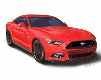 Ford Mustang A4 artist print.