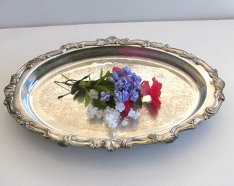 Vintage Victorian Silver Plate Butlers Serving Tray, Platter. Wedding Tray, Footed
