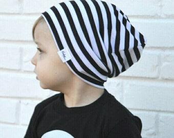 Boy slouchy beanie/  baby slouchy beanie/ black and white hipster beanie/ toddler boy slouchy beanie/ slouchy knit hat
