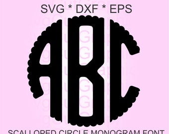 Scalloped Circle Monogram SVG Font, Svg Files, Svg Scalloped Letter Monogram Font, Svg File for Cricut, Cricut Svg Font, Silhouette Svg Font