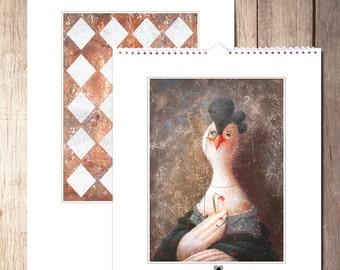 SALE 2017 Calendar, Wall Calendar, Calendar, Wall Calendar 2017, 12 Month Calendar, Art Calendar, Chickens, Christmas Gift, Art Deco