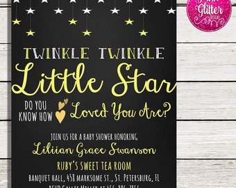 Twinkle Twinkle Little Star Baby Shower, Twinkle Twinkle Little Star Shower,  Twinkle Twinkle Little Star Invitation, Gender Nuetral