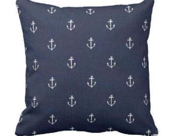 cottage throw pillow cover - spring decorative pillow - sea side pillow - anchor pillow cover - navy pillow sham - navy throw pillow