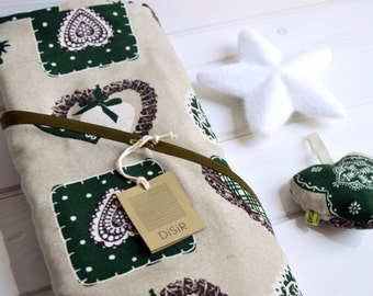 Tablecloth, oval tablecloth, tablecloth, Christmas tablecloth green, oval tablecloth