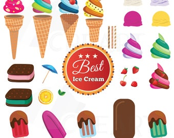 Ice Cream party Clipart collection, delicious. Clipart, DIY ice-creams, Party sundae Graphics, Printable Illustrations, puzzle ice-creams.