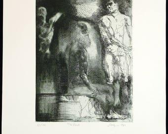 """Art from the GDR. """"Die Rast"""", 1981. Etching by Volker STELZMANN"""