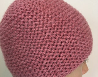 Chunky Hat, Hand Knitted ladies hat, Women Hats, Pink color hat, 100%  Cashmere hat
