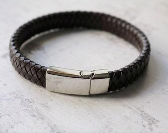 Personalised Mens Leather Bracelet -Custom Engraved Leather Bracelet - FREE ENGRAVING