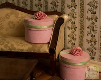 Hatboxes (Pink Rose) -- Dollhouse Miniatures 1:12 Scale