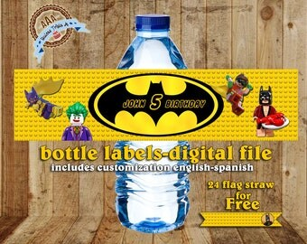 Personalized water bottles labels Batman + Flags for your straws FREE, Batman, Lego Batman, Batman Party, Batman Birthday, digital file