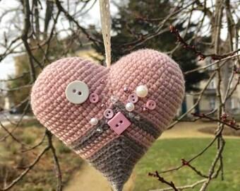Amigurumi heart. Crochet amigurumi heart. Valentine's day love gift! Wedding decor. Wedding rings pillow. Wedding table decor. Crochet heart