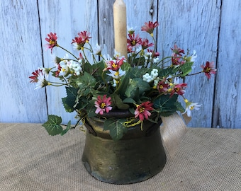 Antique Heavy Forged Iron Pail with Handle filled with Beautiful Greenery, Dark Red, Cream Petite Flowers and Candle, Primitive Arrangement