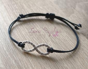Elegant black bracelet with Infinity pendant