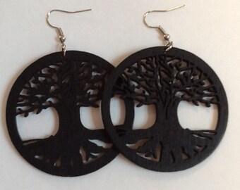 Tree of Life Earrings -Wooden Tree of Life - Wood Tree Earrings -Brown Wooden Earrings - Brown Wood Earrings - Brown Tree Earrings Circled