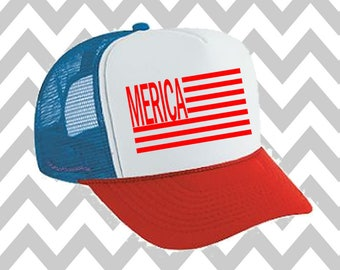Merica Trucker Hat 'Merica Trucker Hat Fourth Of July Hat Snapback Hat 4th of July Hat Independence Day USA Hat Snap Back Hat USA Flag Hat