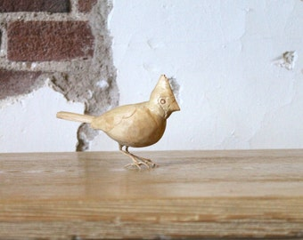 Handcarved Wooden Small Cardinal