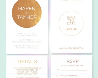 Real Foil Wedding Suite / Rose Gold Invitations / Minimalist Wedding Suite / Foil Wedding Invite / Modern Wedding Suite