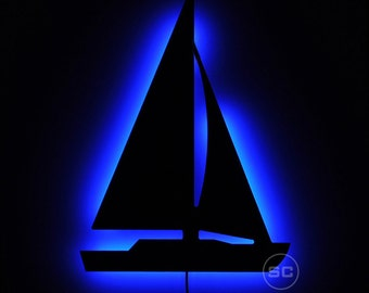 Lighted Sailboat Sign - Nautical Theme Night Light - Bright Sailboat Lamp