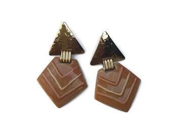 Vintage modern triangle statement earrings / minimalist / peach / gold