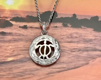 Honu pendant etsy sterling silver hawaiian koa wood engraved honu in circle pendant with rhodium rope chain p1246 aloadofball Image collections