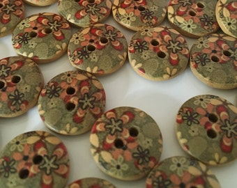 15, patterned buttons, wood buttons, green buttons, 15mm round buttons, wooden button, jade green, flower pattern, craft buttons, cute
