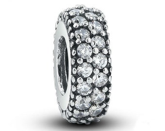 Inspiration Within Spacer Bead Charm CZ set, Will fit Pandora biagi and similar Style Bracelets
