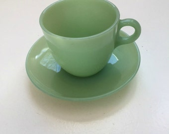 Fire king Cup and Saucer, Jadeite Cup and Saucer, Green