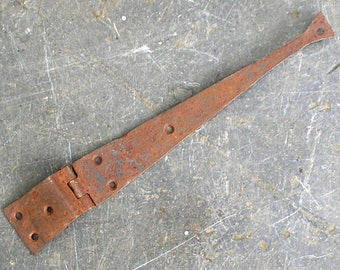 Antique iron strap hinge, 18th century. Salvaged rusty 1700s coffer chest hinge. Hand forged antique furniture ironwork industrial hardware