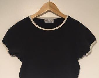 Size S Super Cute Black Sporty Crop Top