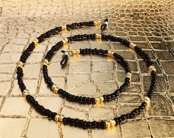 Black and gold beaded sunglasses chain