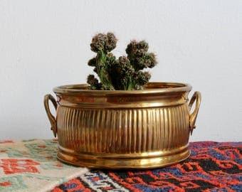 CLEARANCE* Vintage Brass Planter, Hollywood Regency Planter, Rustic Brass, Patina, Midcentury Planter, Mid Century, MCM, Boho, Bohemian