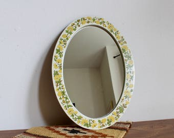Vintage, Retro, Boho 70s Mirror with Yellow Floral Frame, Daisies, Sunflowers, Bohemian, Decorative Mirror, Hippie, Flower Power,