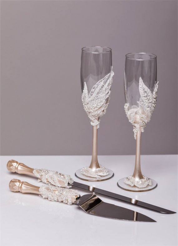 Glasses And Cake Server Set Cake Cutter Boho Wedding Toasting Flutes