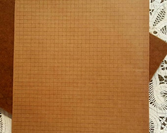 Kraft paper, brown paper, graph paper, brown graph paper, 8.5 X 11 inches, junk journals, embellishments