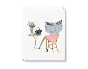 Cafe Thank You/ Hand-Painted Greeting Card/ Blank Greeting Card