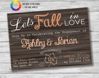 Let's Fall In Love Engagement Party Invitation, Rustic Engagement Party, Printable Invitation, Rustic Wood Engagement Party, Chalkboard Font