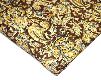 Maroon and Beige Cotton Kalamkari Fabric