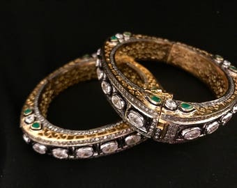 2-4 and 2-6 Antique Kundan Kada In Cubic Zirconia and Emerald | Victorian Bangles
