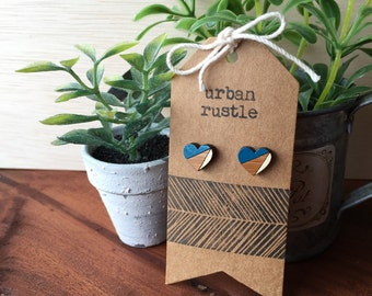 Teal blue + Yellow wooden heart studs - wooden heart earrings - heart earrings - heart studs- handmade wooden studs - wooden heart studs