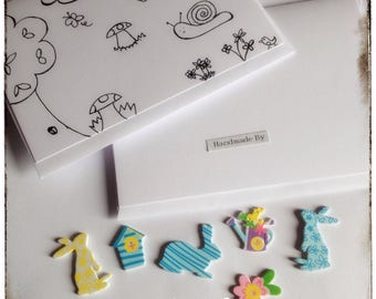 Children's Card Making Kit - Colour In - Stickers - Art Activity - Rainy Days Activity -  Holidays Activity - UK Free Postage