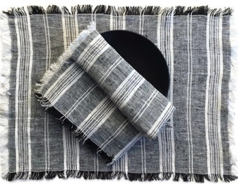 Set of 4+ Linen Placemats, Black and White Placemats, Black, White, Gray Striped Linen Placemats, Antique Style Table Linens