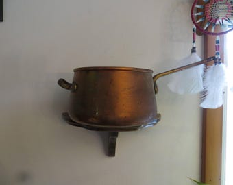 Copper Pot with two solid brass handles